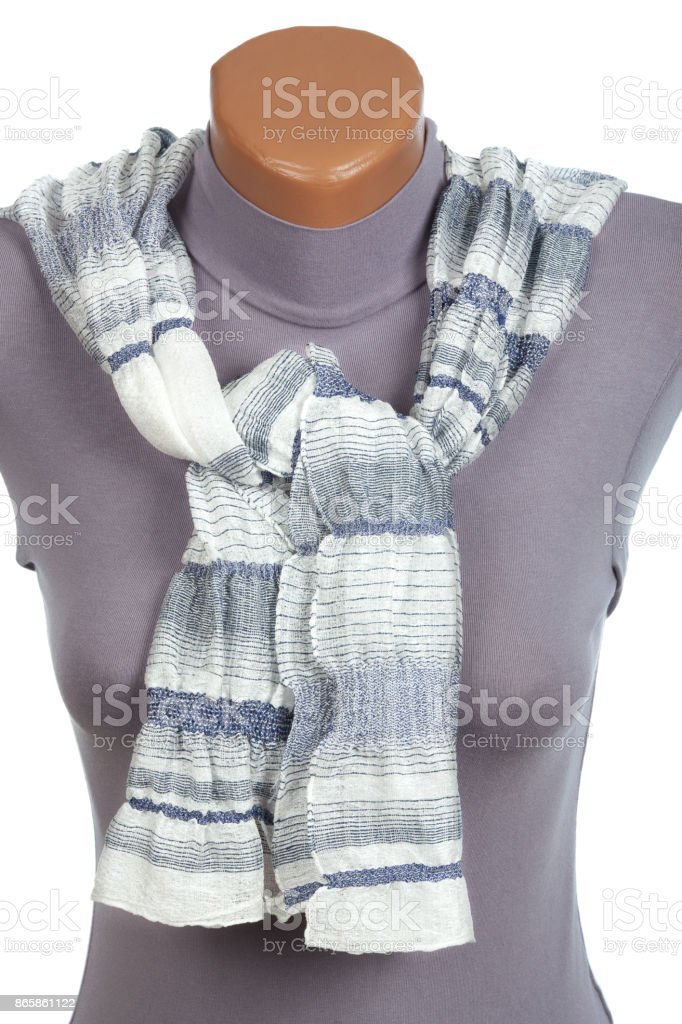Gray scarf on mannequin isolated on white background. stock photo