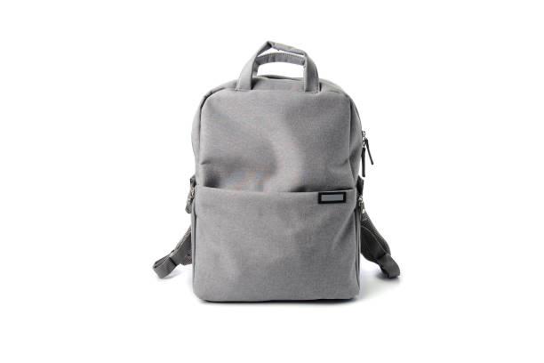 gray school bag isolated on white gackground - 背囊 個照片及圖片檔