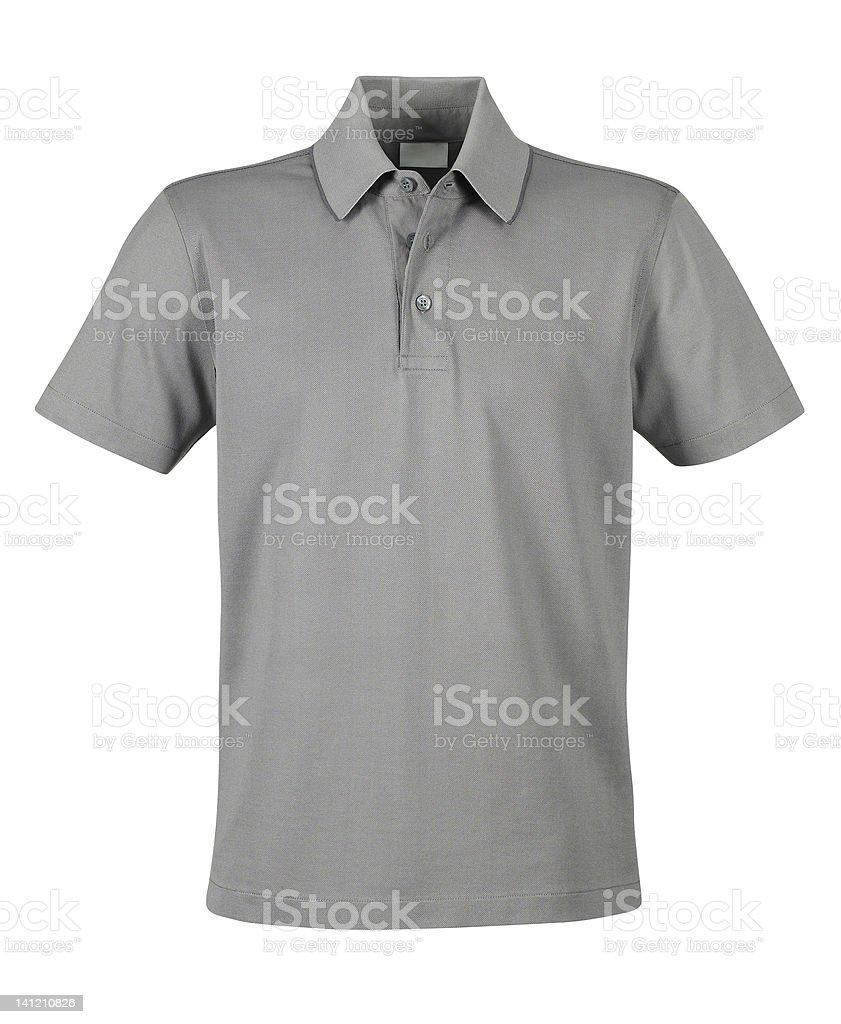 Gray short-sleeve polo shirt stock photo