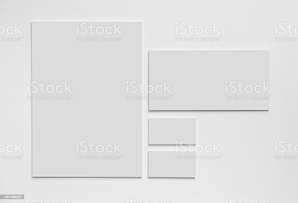Gray simple stationery mock-up template on white background stock photo