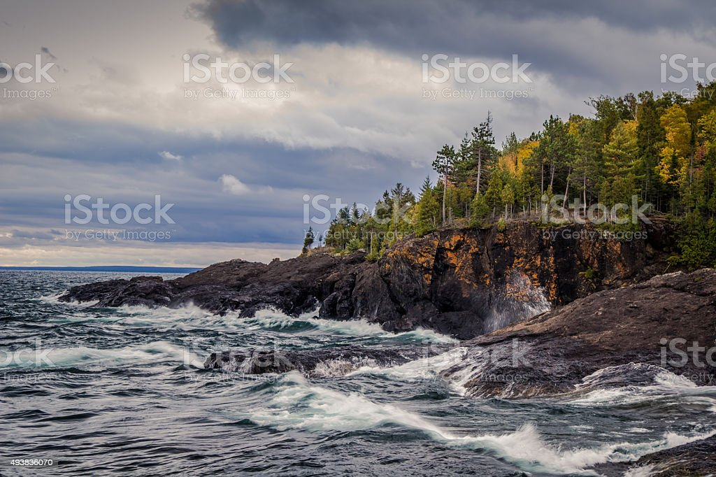 Gray Skies Over Storm Lake Superior stock photo
