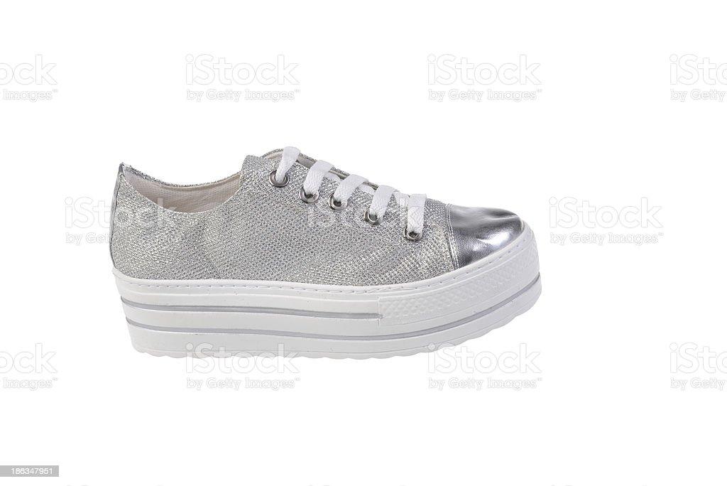 Gray Sneaker Shoe royalty-free stock photo