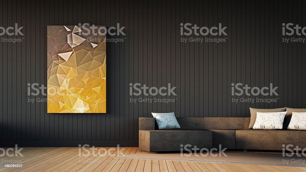 Cornice grigio divano e opere d'arte - foto stock