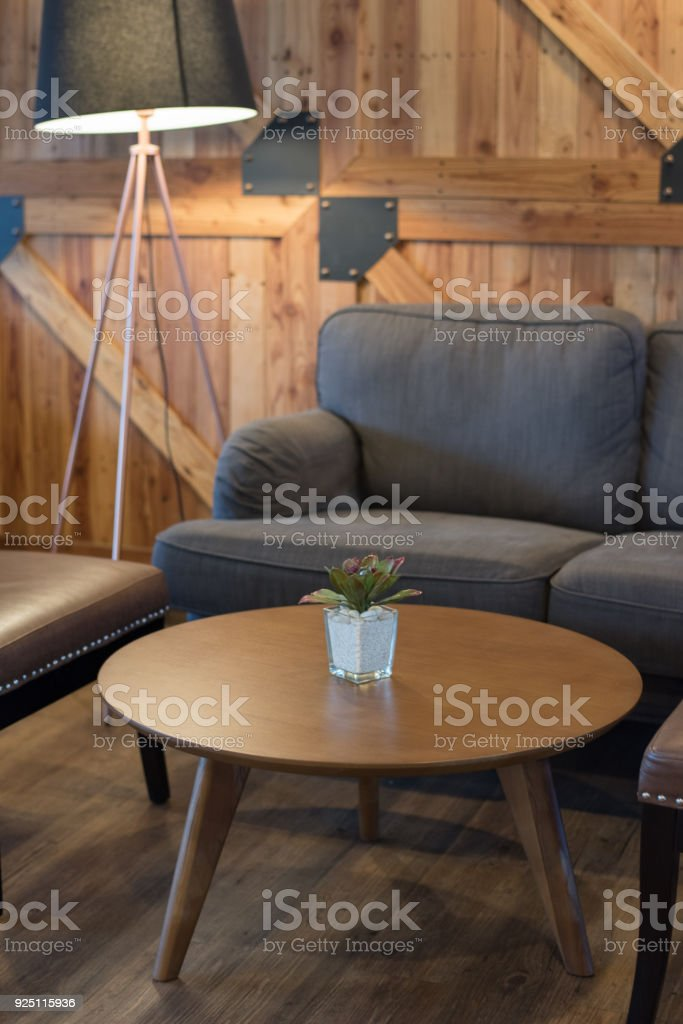 Gray Sofa And Wooden Table In Living Room Japanese Style