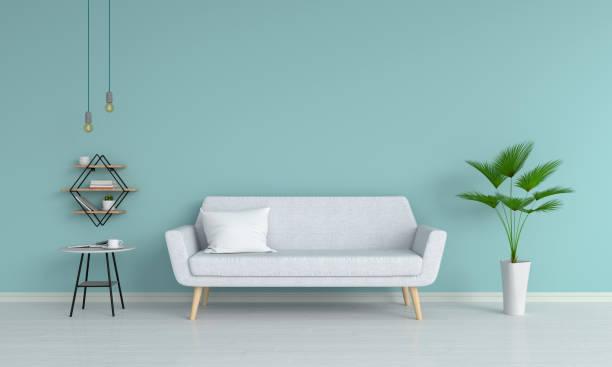 graue sofa im wohnzimmer, 3d rendering - hellblaues zimmer stock-fotos und bilder
