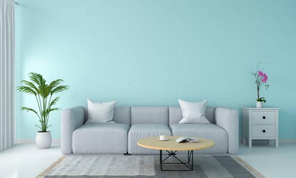 graues sofa im wohnzimmer, 3d-rendering - teppich hellblau stock-fotos und bilder