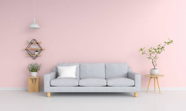 Gray sofa in pink living room, 3D rendering Gray sofa in pink living room and blank space for mockup, 3D rendering sofa stock pictures, royalty-free photos & images