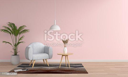 istock Gray sofa in pink living room, 3D rendering 1178840093
