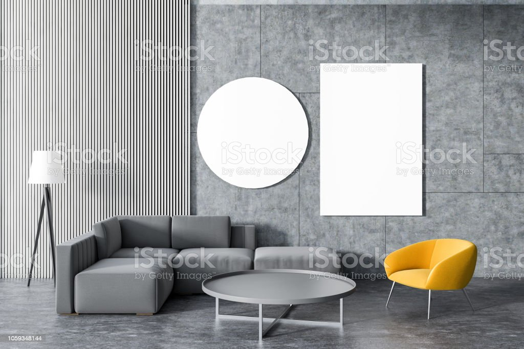 gray sofa yellow armchair living room gallery gm