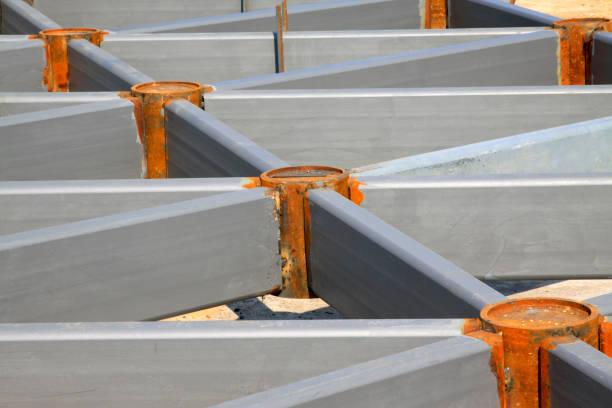 Graue Stahlstruktur, Nahaufnahme des Fotos – Foto