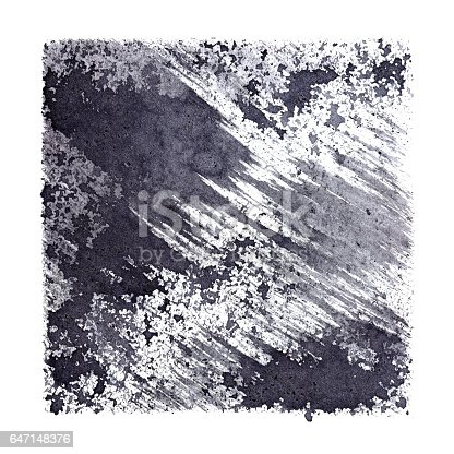 647148346 istock photo Gray stenciled square with stains and brush strokes 647148376