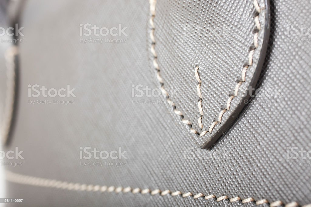 Gray Stitched Leather Handbag stock photo
