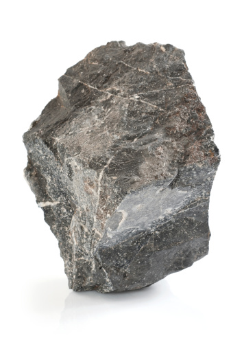 Gray large stone on white background