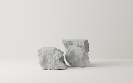 3D Gray stone podium display set. Copy space white background. Cosmetics or beauty product promotion mockup.  Natural rough grey rock step pedestal. Trendy minimalist banner, 3D render illustration.