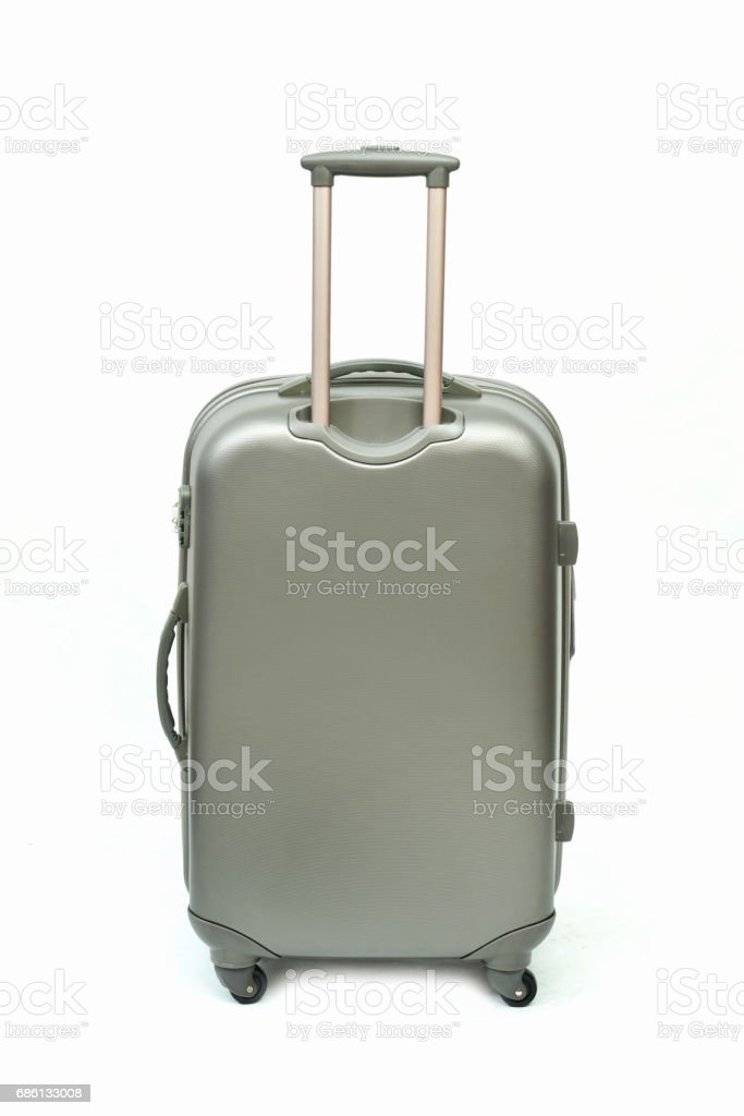 Gray suitcase stock photo