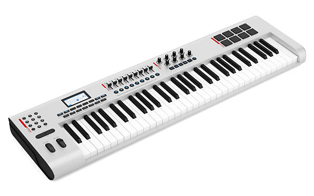 gray synthesizer isolated on white background gray synthesizer isolated on white background synthesizer stock pictures, royalty-free photos & images