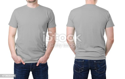 956902000 istock photo Gray t shirt on a young man template 473935446