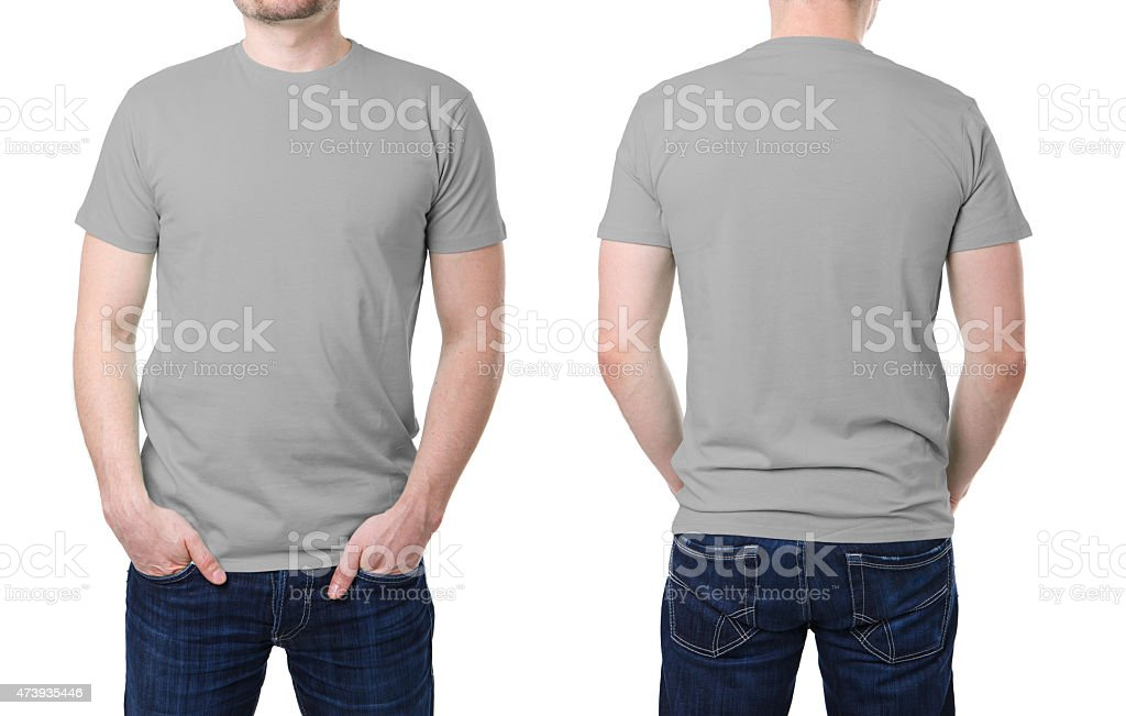 Gray t shirt on a young man template stok fotoğrafı