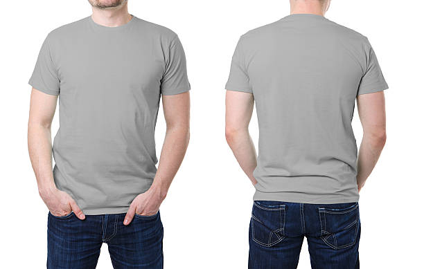 gray t shirt on a young man template - t shirt stock photos and pictures