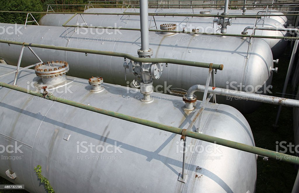 gray tanks and huge cistern the storage stock photo