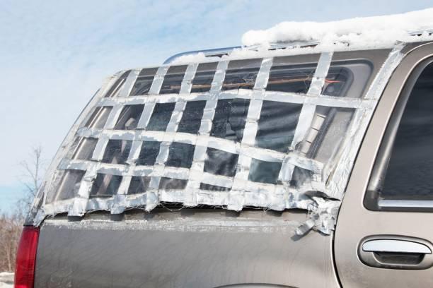 Grau mit Klebeband Fenster – Foto
