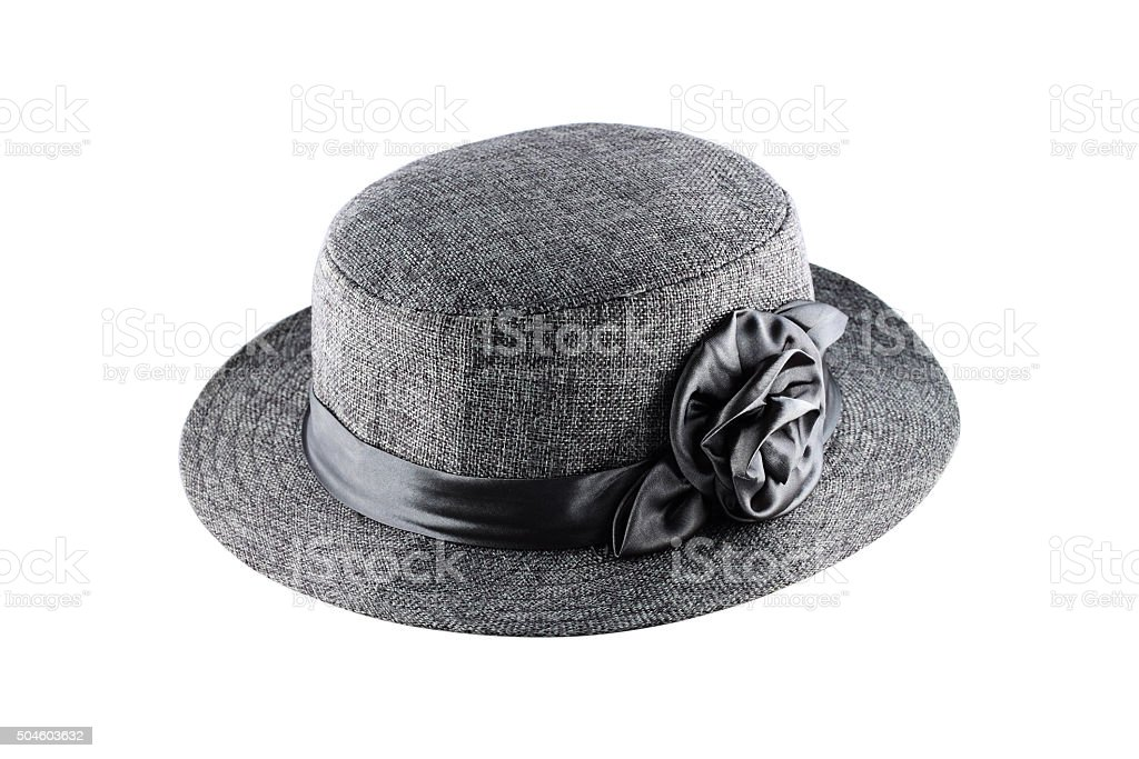 Gray textile fibers hat for decoration isolated on white stock photo