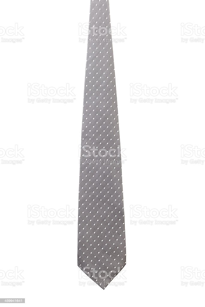 Gray tie with white speck. stock photo