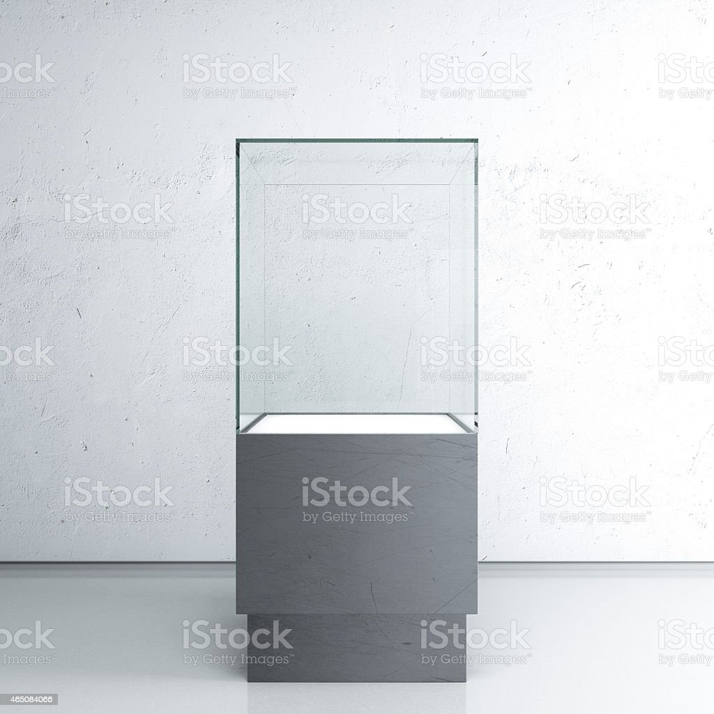 A gray toned picture of an empty glass exhibit case stock photo