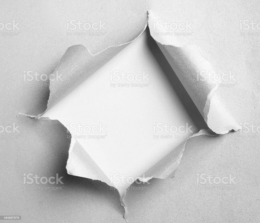 Gray torn paper with square shape stock photo
