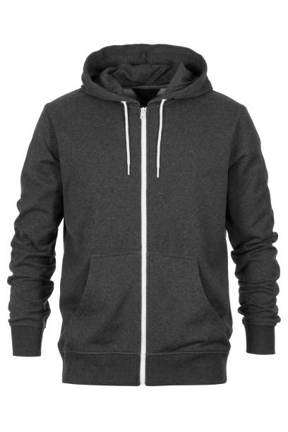 gray tracksuit on white background - sweatshirt stock photos and pictures