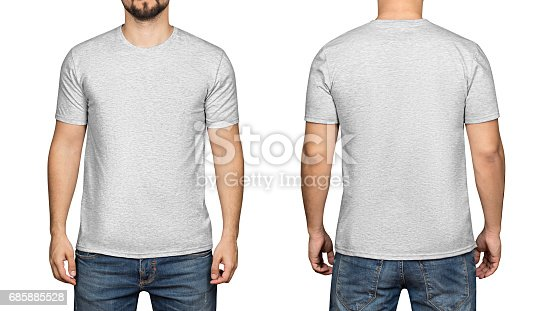 istock Gray t-shirt on a young man white background, front and back 685885528