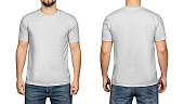 Gray t-shirt on a young man white background, front and back