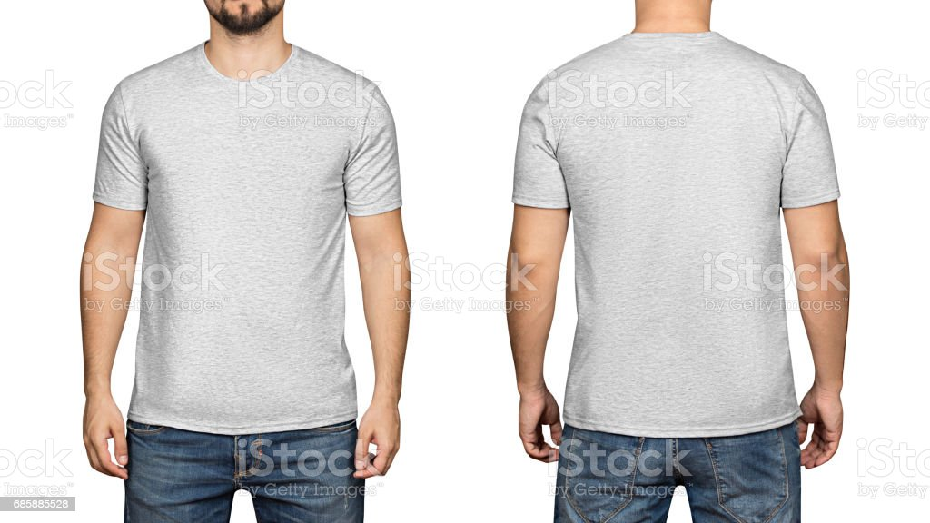 Gray t-shirt on a young man white background, front and back stock photo