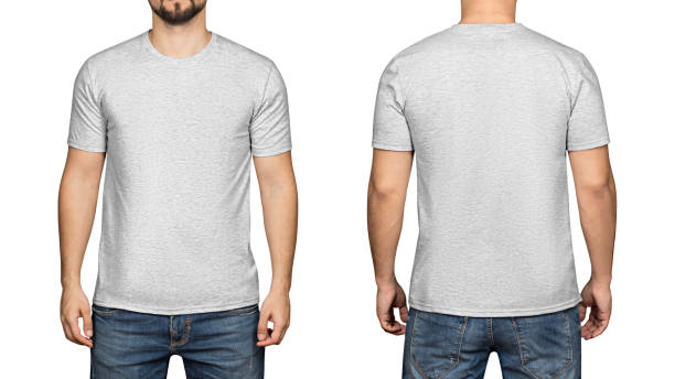 gray t-shirt on a young man white background, front and back - t shirt stock photos and pictures