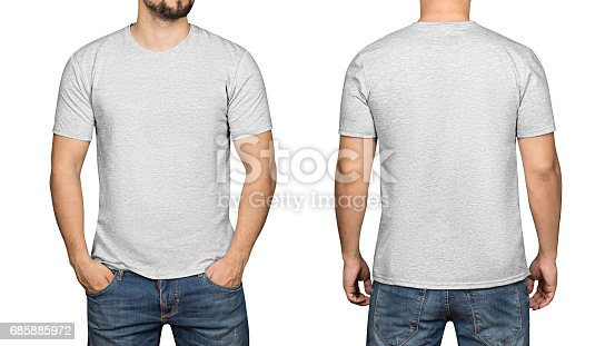 istock Gray t-shirt on a young man white background, front and back 685885972