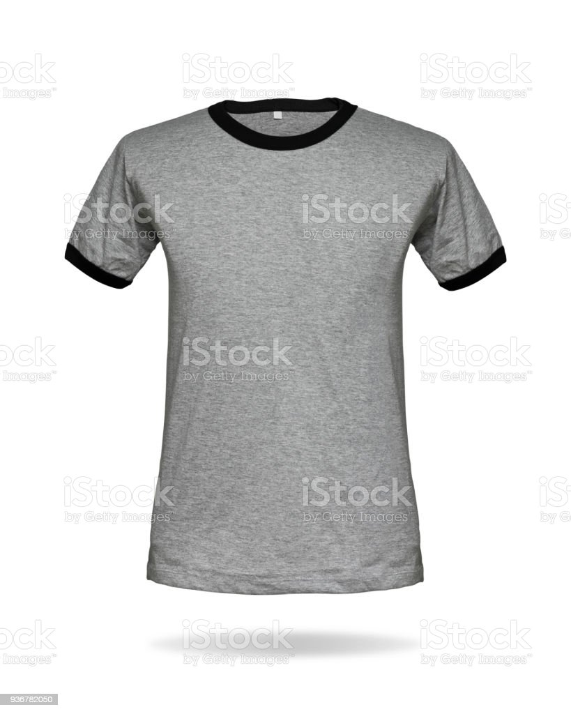 Gray T Shirt Template On Isolated Background With Clipping Path Outfit For Your Design