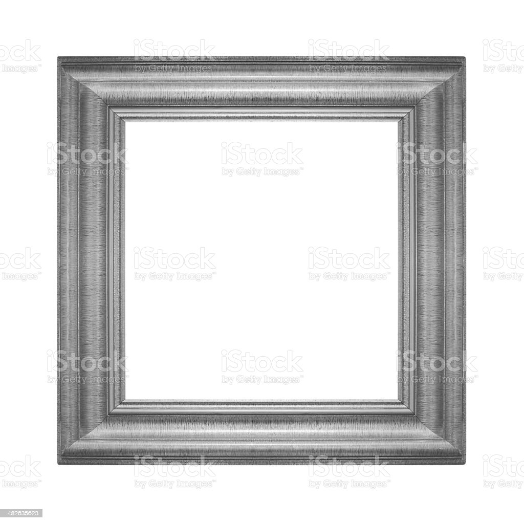 Gray vintage frame isolated on white background stock photo