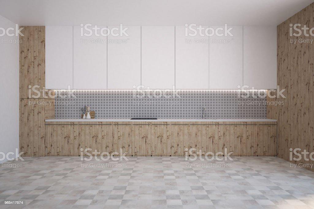 Gray wall pattern kitchen interior royalty-free stock photo