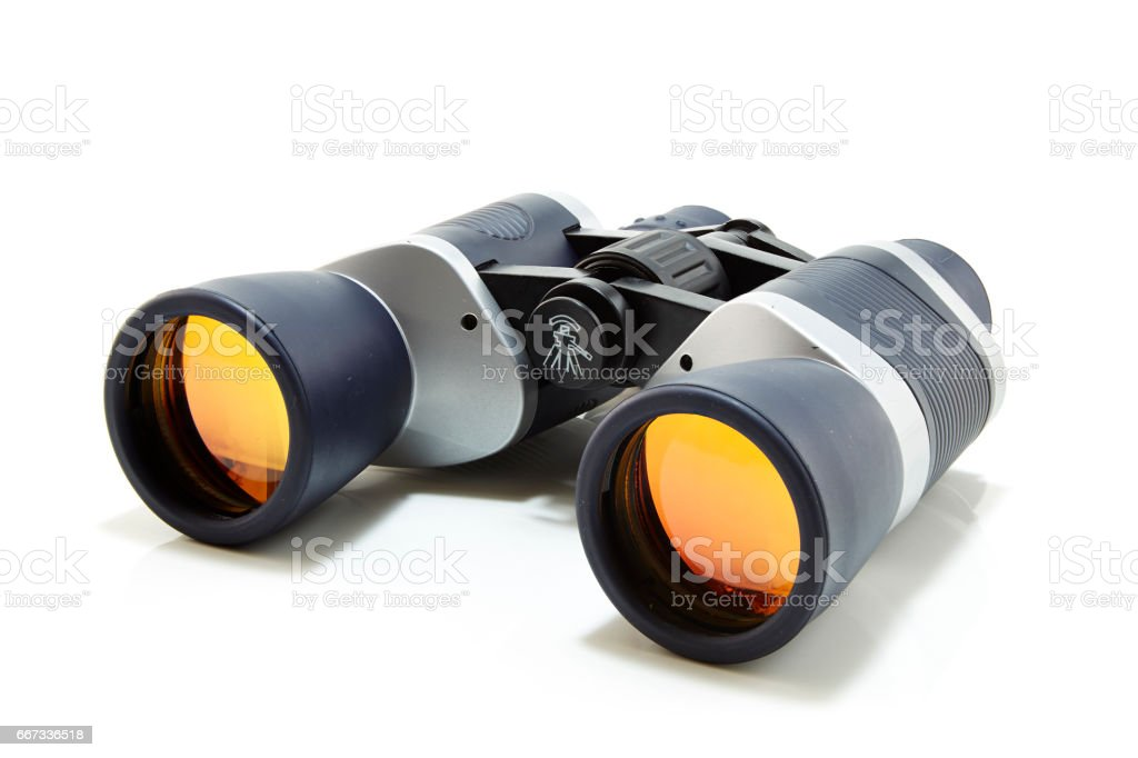 Gray with dark blue binocular stock photo
