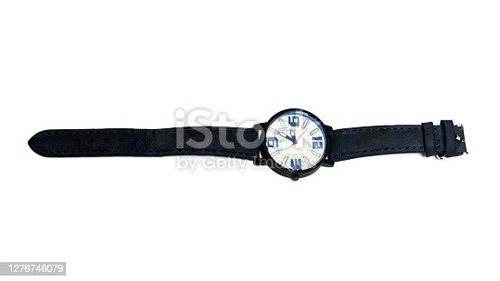 Gray wrist watch close up, isolated on white background