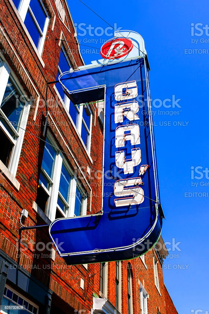 Gray's cafe overhead sign in downtown Franklin, Tennessee. stock photo