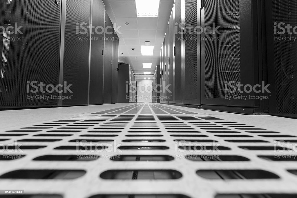 Grayscale floor view of server room royalty-free stock photo