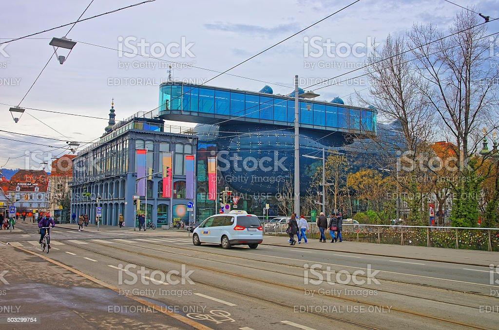 Graz Art Museum in Graz in Austria in January stock photo