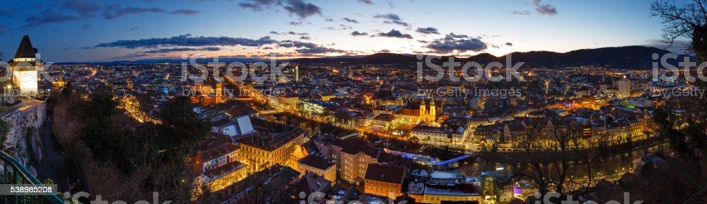 Graz city night top panorama (Austria). stock photo