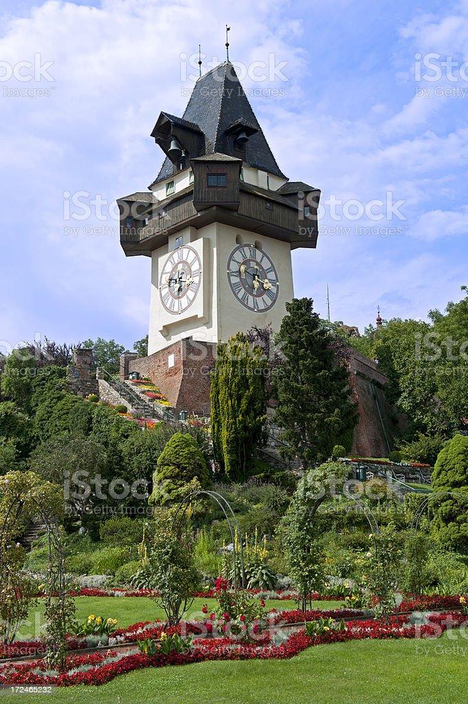 Graz clock tower stock photo