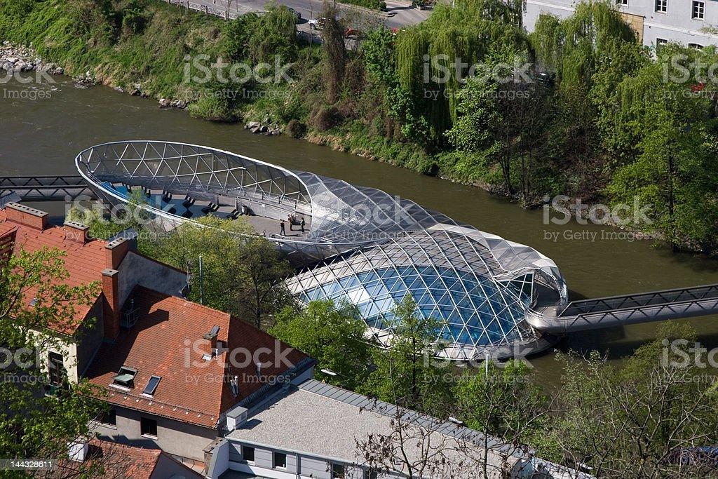 Graz; Mur island stock photo