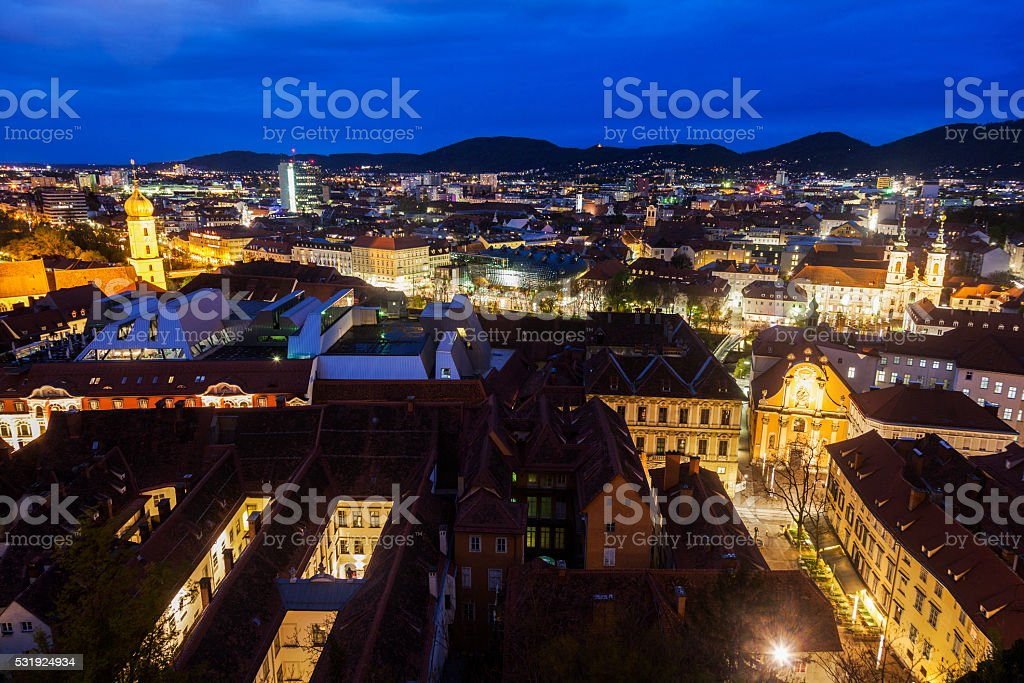 Graz panorama from Castle Hill stock photo