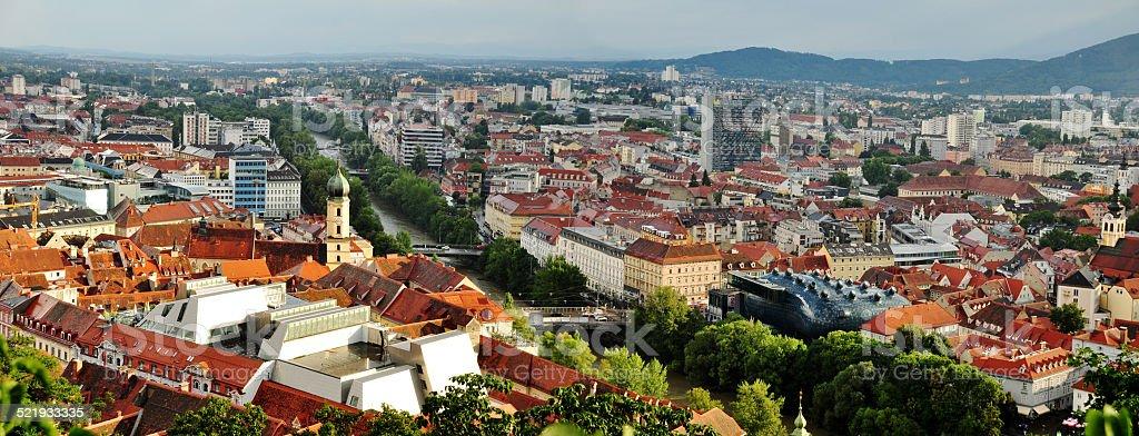 Graz panorama stock photo