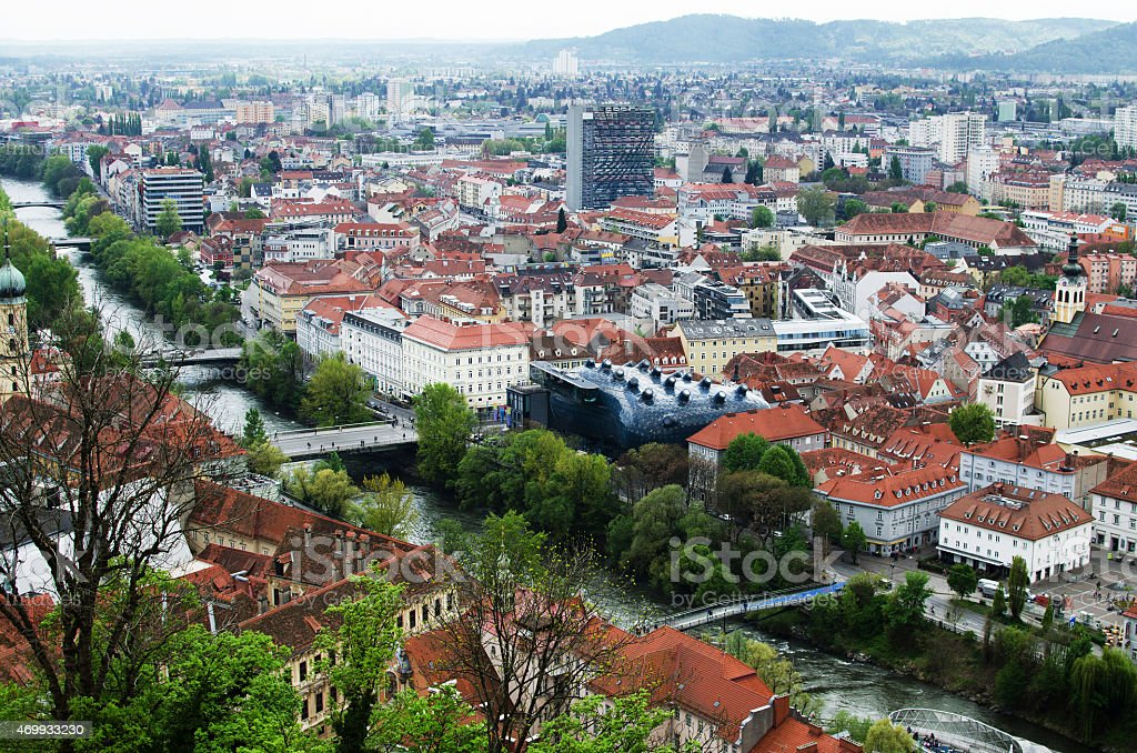 Graz roofs and Kunsthaus stock photo