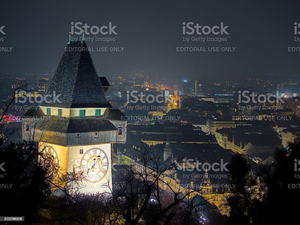 Graz, Schlossberg, night stock photo